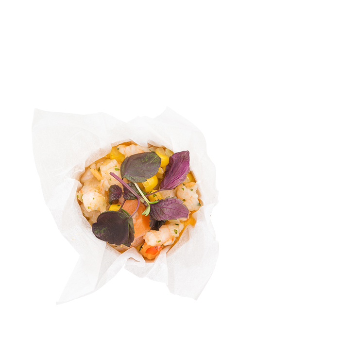 Garnelen Ceviche im Palmblatt