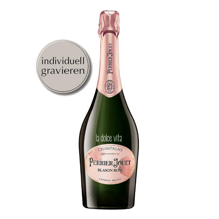 Blason Rosé Champagner mit individueller Gravur von Perrier-Jouet