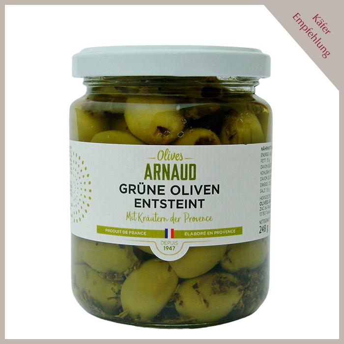 Grüne Oliven mit Kräuter der Provence, entsteint