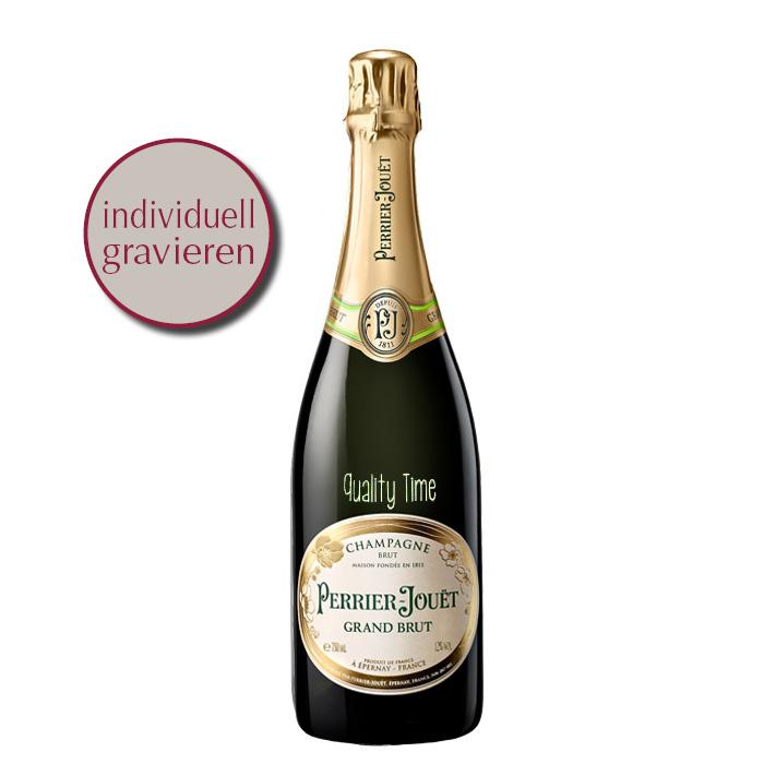 Grand Brut Champagner mit Gravur von Perrier-Jouet