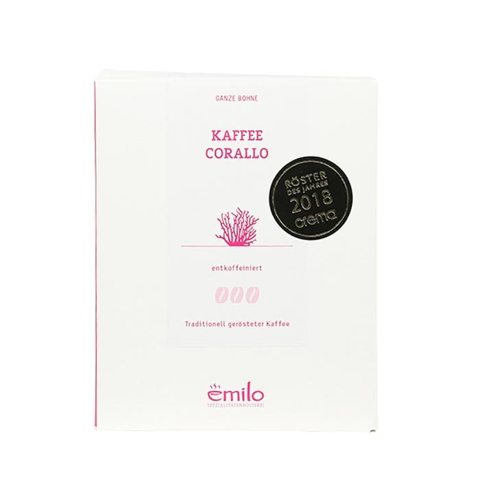 Kaffee Corallo entkoffeiniert, ganze Bohne