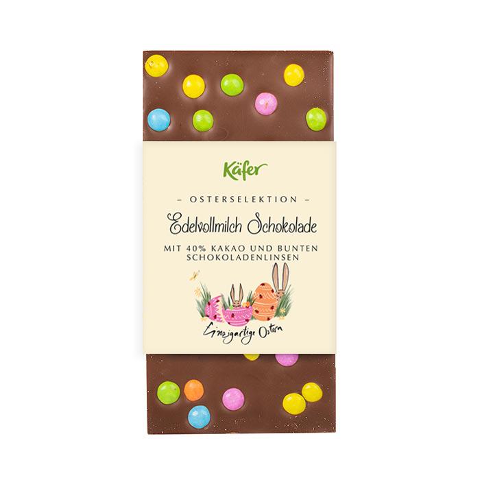 Osterschokolade mit bunten Schokolinsen