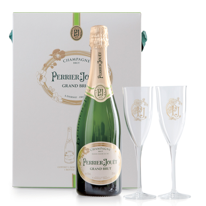 Präsent Grand Brut mit 2 Gläsern von Perrier-Jouët