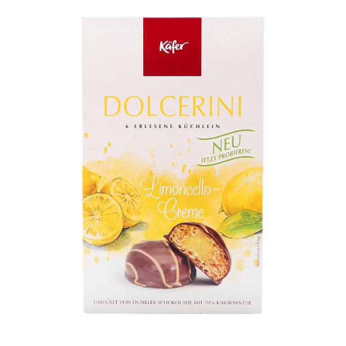 Die Käfer Dolcerini sind erlesene Küchlein mit Limocello-Creme gefüllt und umhüllt von dunkler Schokolade mit 70 % Kakaoanteil.