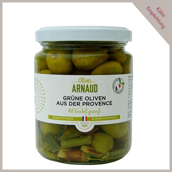 Grüne Oliven mit Fenchel gewürzt, mit Kern