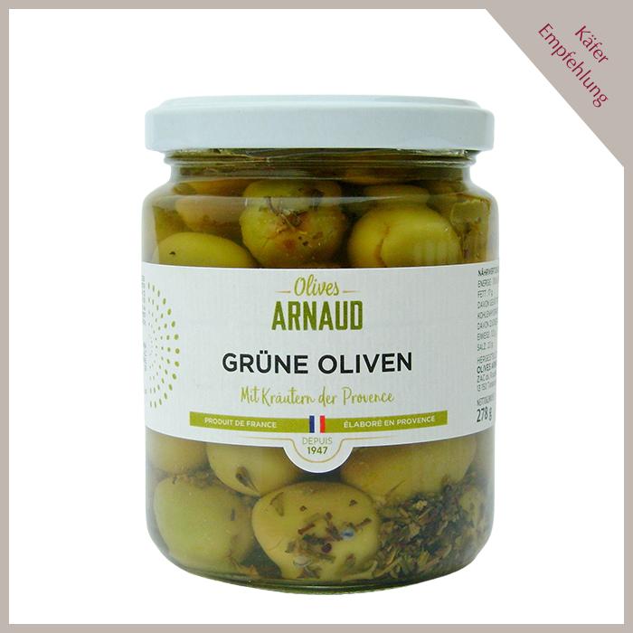 Grüne Oliven mit Kräuter der Provence, mit Kern