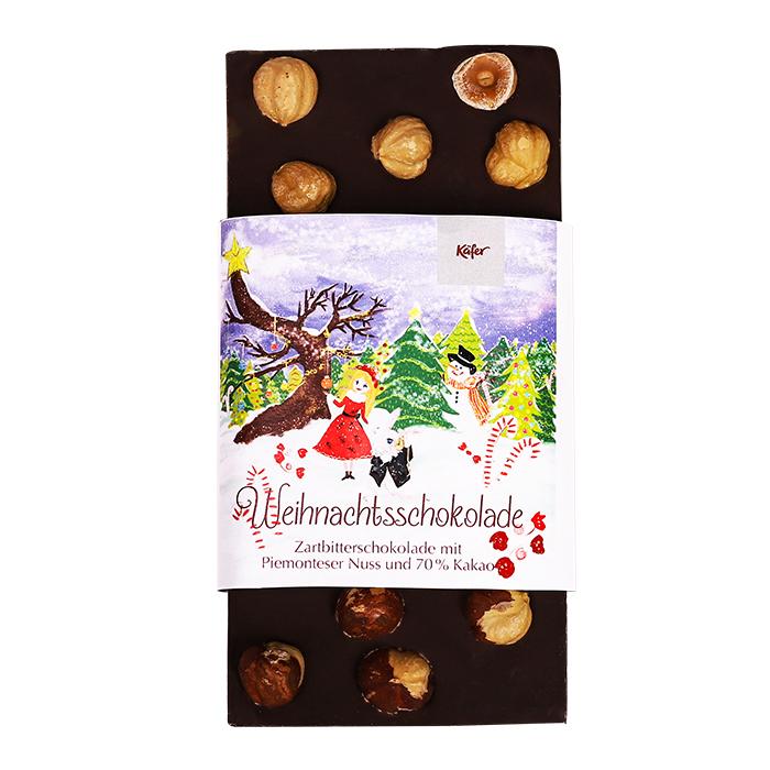 Weihnachtsschokolade Zartbitter mit Piemonteser Nuss