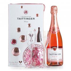 Champagner Rose Brut mit 2 Gläsern
