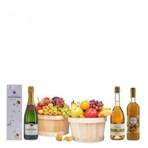 Kleiner Obstkorb mit Champagner