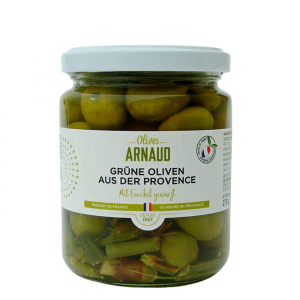 Grüne Oliveh aus der Provence mit Fenchel