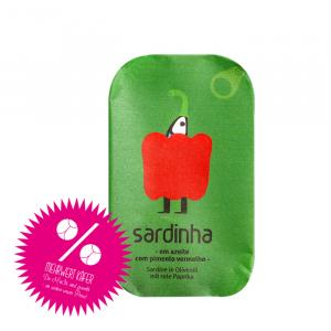 Sardinen in Olivenöl mit rote Paprika
